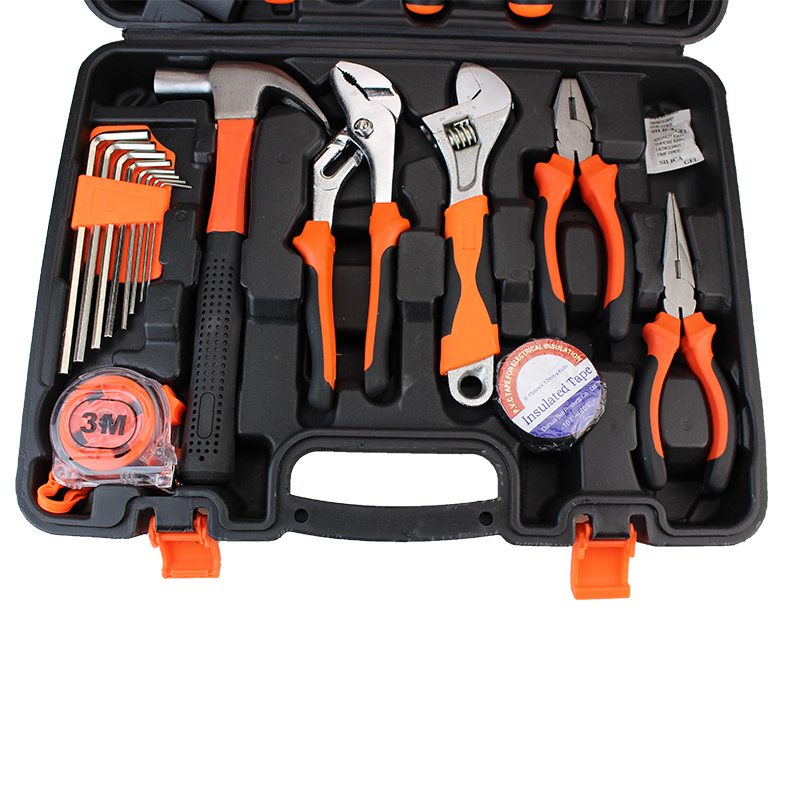 Tools : 38 pcs Hand Tools Set Household Tool Kit Wood Working Tools Case Home Use Tools Box Screwdriver Hack Saw Wrench Hammer HTS027