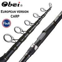 OBEI 잉어 낚시대 3.3 3.6m 탄소 섬유 텔레스코픽 스피닝로드 pesca 3.25lb 파워 80-200g 11 '12' 하드 폴