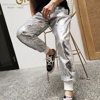 Male Streetwear Punk Gothic Trousers Men Sequins Loose Casual Harem Pant Joggers Sweatpants Dancer Hip Hop Stage Clothing