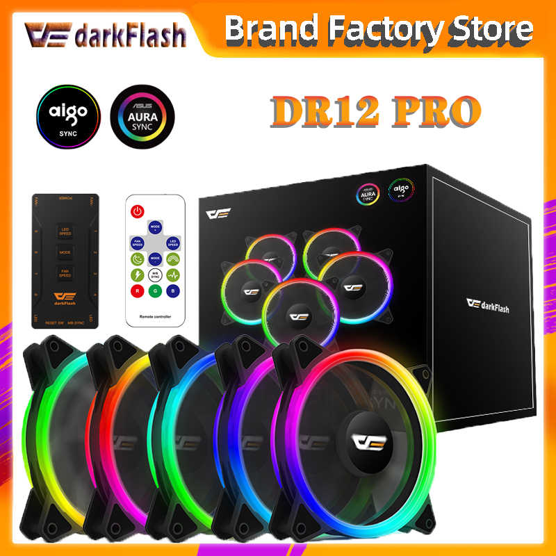 Aigo DR12 Pro Aura Sync Computer Case Cooling Fan Rgb Passen Led 120 Mm Dubbele Halo Pc Argb Computer Koeler cooling Rgb Case Fan