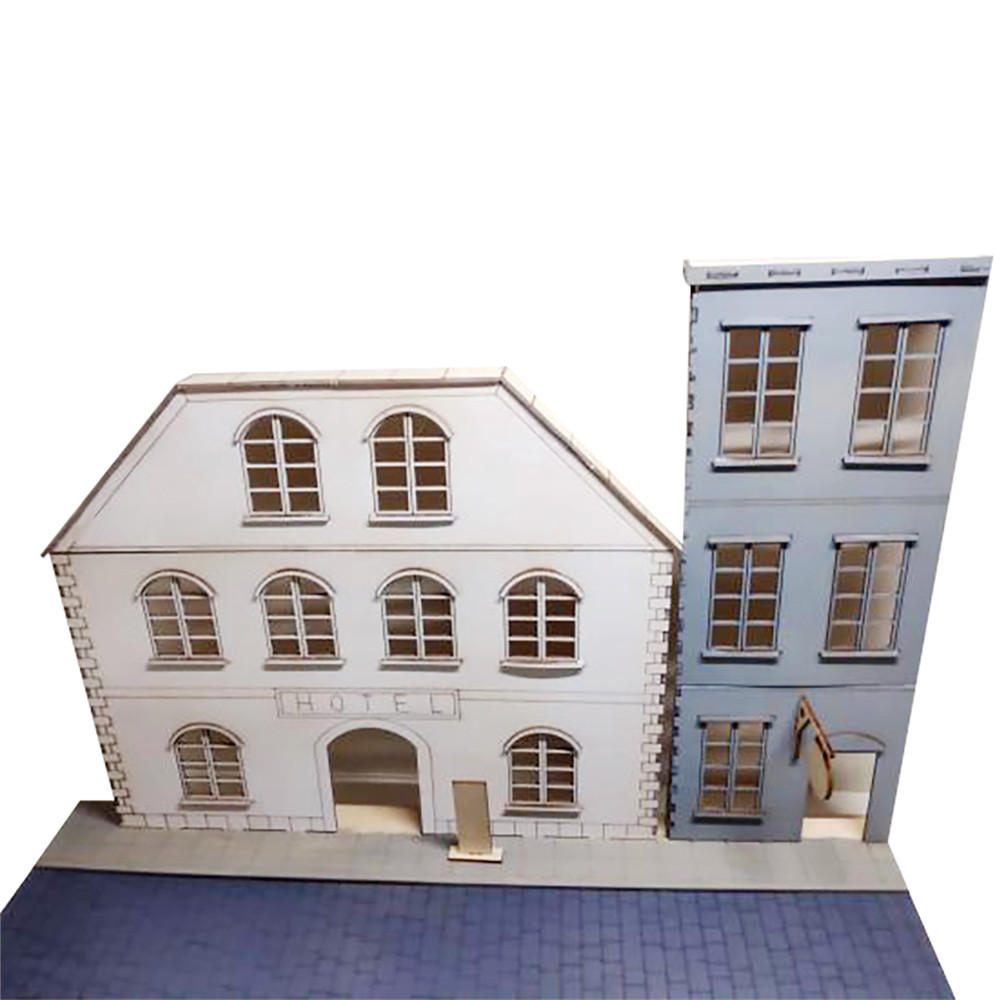 <font><b>1/35</b></font> DIY European Urban Street Scenes Diorama Wooden Assembly <font><b>Model</b></font> <font><b>Kit</b></font> City Scenery Sand Table Parts image
