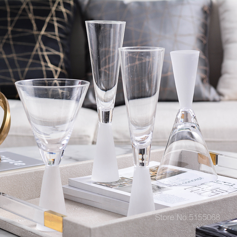 Light Luxury Frosted White Crystal Champagne Coupes Matte Senior Restaurant Banquet Wine Glass Wedding Toast Goblet Aperitif Cup