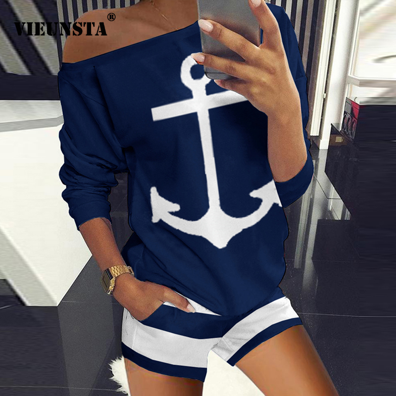 Summer New Off Shoulder Two Piece Sets Boat Anchor Print Shirt And Shorts Set Women Elegant Spring Casual Tracksuit Suits Pocket