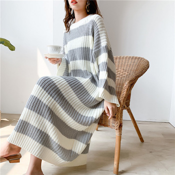 New Loose Stripe Crew Neck Pullover Sweater Women Long Knit Dress6