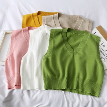 Autumn Sweater Vest Womens  Korean Elegant Student V-neck Pullover Loose Casual Knitting Tops Outerwear