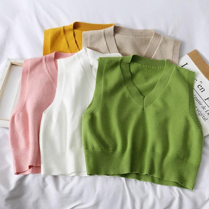 Autumn Women Sweater 2019 Korean Womens Elegant Student V-neck Pullover Loose Casual Knitting Tops Outerwear Vest