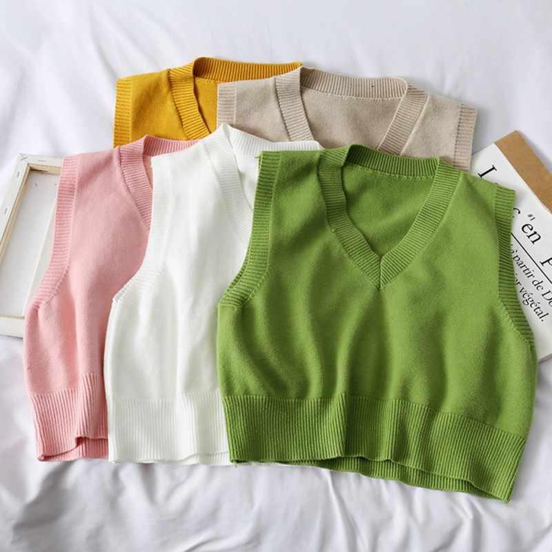가을 스웨터 조끼 여성 조끼 스웨터 한국어 우아한 학생 v-목 풀오버 루즈 캐주얼 뜨개질 탑스 겉옷 조끼