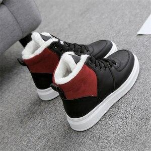 Image 4 - JIANBUDAN femmes décontracté hiver imperméable coton chaussures en peluche chaud plat bottes de neige mode fille blanc hiver coton bottes 35 40