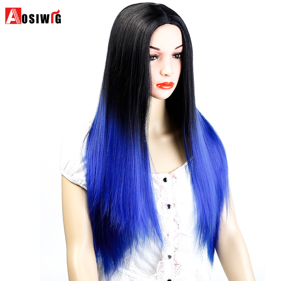 AOSIWIG Long Straight Hairstyles For Women 24'' Blue Ombre Wig Synthetic Hair 6 Colors Available Heat Resistant Cosplay Wig