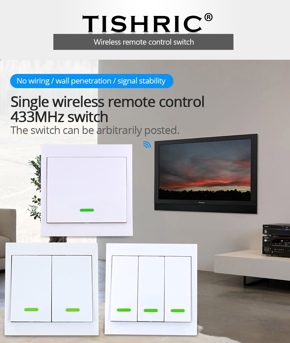 TISHRIC RF Remote Controller 433Mhz Transmitter 86 Type Wall Panel Sticky Smart Home Work With SONOFF RF/T1/T2/T3/Bridge/TX/433