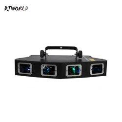 DJworld 4 головки RGB Полноцветный линейный сканер линии проектор сценический эффект лазерный свет узор эффект luz fiesta Вечеринка диско свет