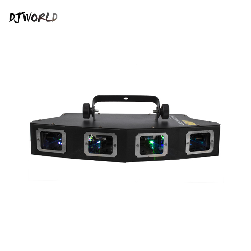 DJworld 4 Head RGB Full Color Line Scanner Line Projector Stage Effect Laser Light Pattern Effect Luz Fiesta Party Disco Light