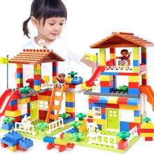 Big Size Slide Blocks Compatible LegoINGlys Duplo City House Roof Big Particle Building Blocks Castle Brick Toys For Children цены