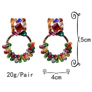 Geometric Colorful Rhinestone Dangle Drop Earrings  6