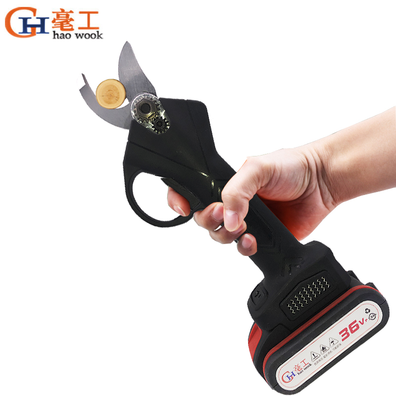 Haowook 36VF 2000mAh Wireless Electric Rechargeable Scissors Pruning Shears Tree Garden Pruner Secateur Branches Pruning Tools