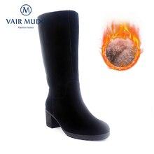 VAIR MUDO Knee High Woman's Winter Boots Thick High Heel Warm Wool Genuine Leather Top Quality Handmade Lady Snow Boots ZT5 цены онлайн