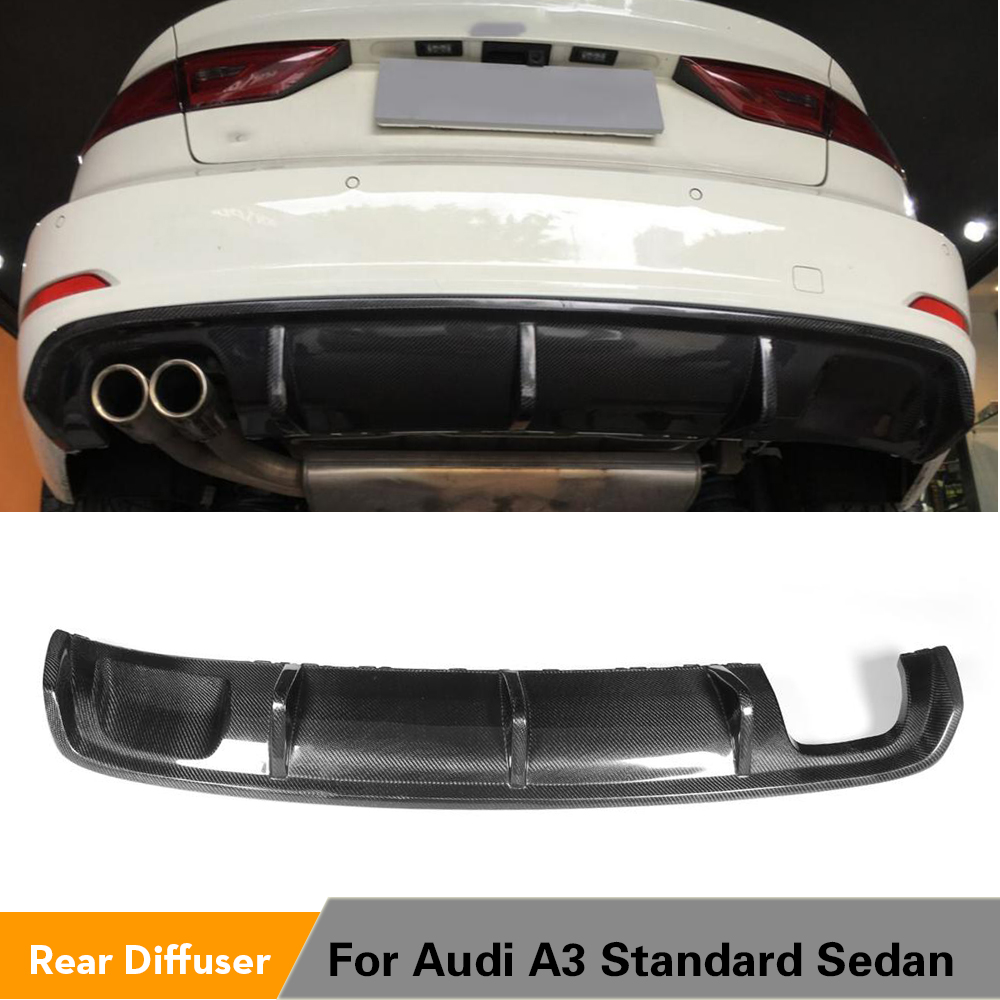 Carbon Fiber / FRP <font><b>Rear</b></font> Bumper Lip <font><b>Diffuser</b></font> Spoiler for <font><b>Audi</b></font> <font><b>A3</b></font> Standard Sedan 4 Door 8V 2014 - <font><b>2016</b></font> Non Sline image