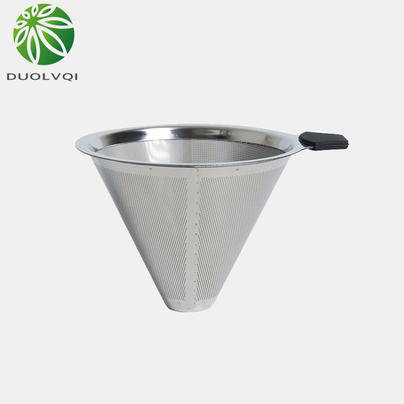 Duolvqi Practical Drip Coffee Filter Reusable Stainless Steel Coffee Filter Durable Coffee Pot Filter Funnel Grid Coffee Tools