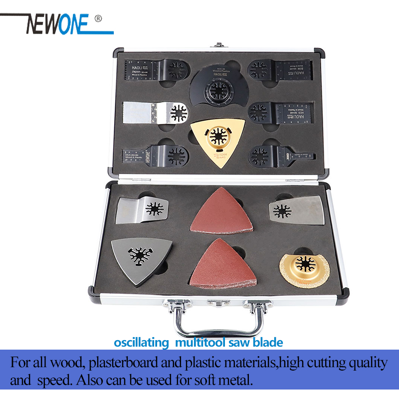 NEWONE Oscillating Multitool Saw Blades Renovator Accessory Kit With Aluminum Case For Sanding Grinding Fit For Fein Bosch Etc.