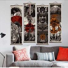 Японский укий самурайский свиток картина холст печать плакат
