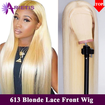 613 Blonde Lace Front Wig Brazilian Straight 13x4 Lace Front Human Hair Wigs Pre-Plucked Baby Hair Remy Glueless 613 Lace Wigs