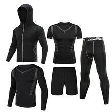 5 adet/takım erkek eşofman spor salonu spor sıkıştırma spor takım elbise giysileri koşu koşu spor giyim egzersiz egzersiz tayt