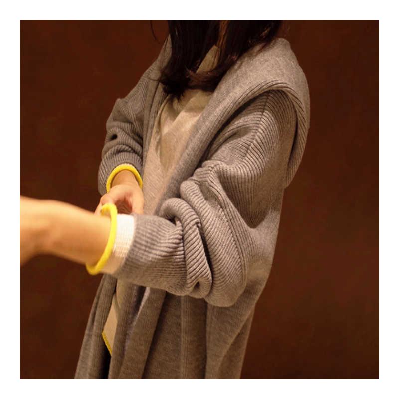 Новая мода весна осень длинный 2019 Женский вязаный кардиган свитер пальто шаль вязаная куртка Женский Для девочек выше размера d плюс размер