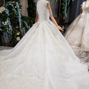 Image 2 - HTL620 vestidos de casamento com long train mangas beading lantejoulas zipper O Pescoço plissado vestido de noiva uma linha vestido de novia 2019