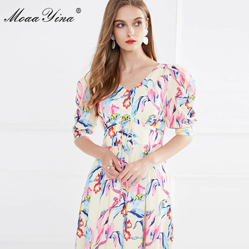 MoaaYina Fashion Runway dress Summer Women's Dress V-neck Puff Sleeve Floral Print Slim Elegant Long Dresses moaayina fashion designer runway dress spring summer women dress v neck batwing sleeve print loose maxi dresses