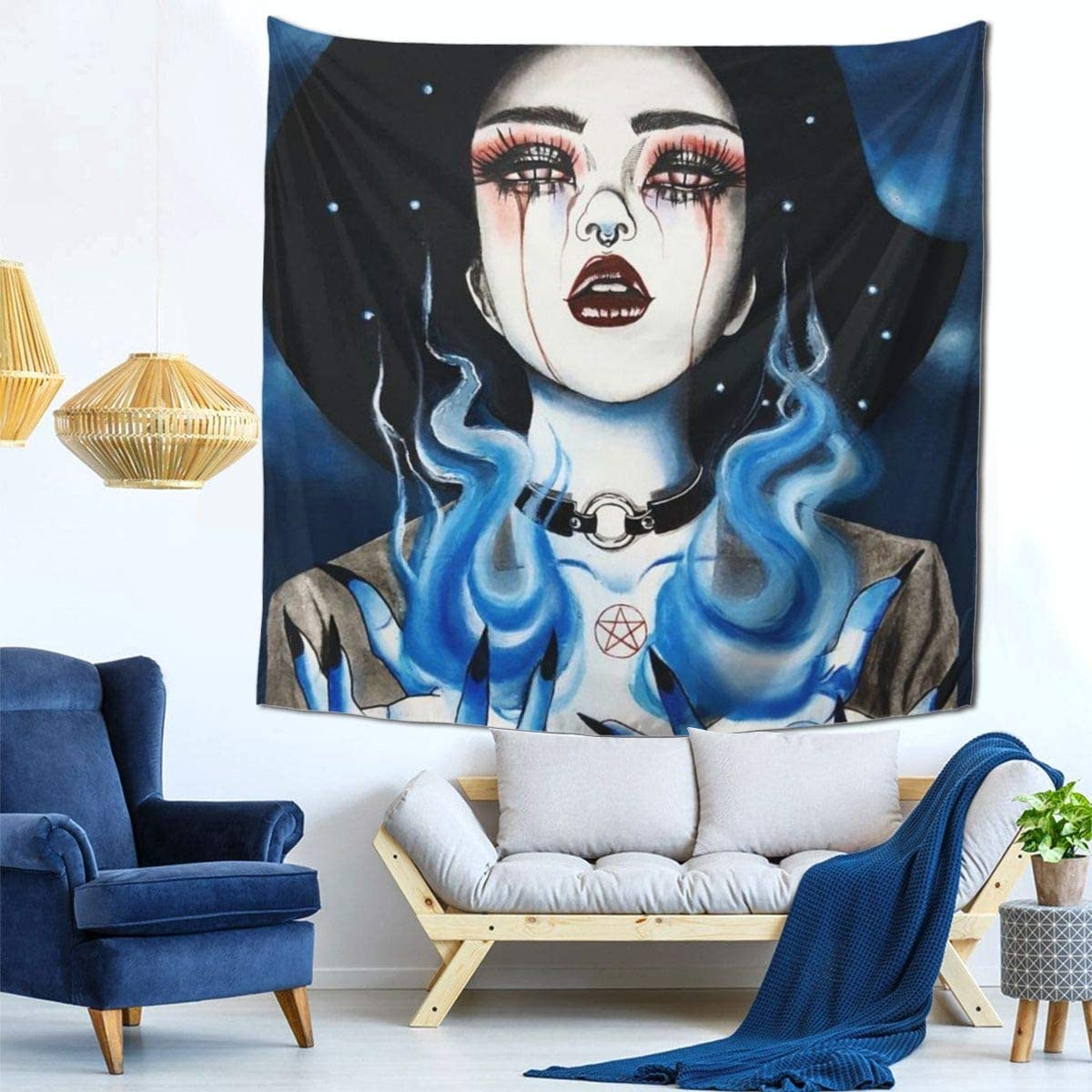 Confident Gothic Women Girl Wall Hanging Tapestry - Home Indian Decor Retro Art Online Discount