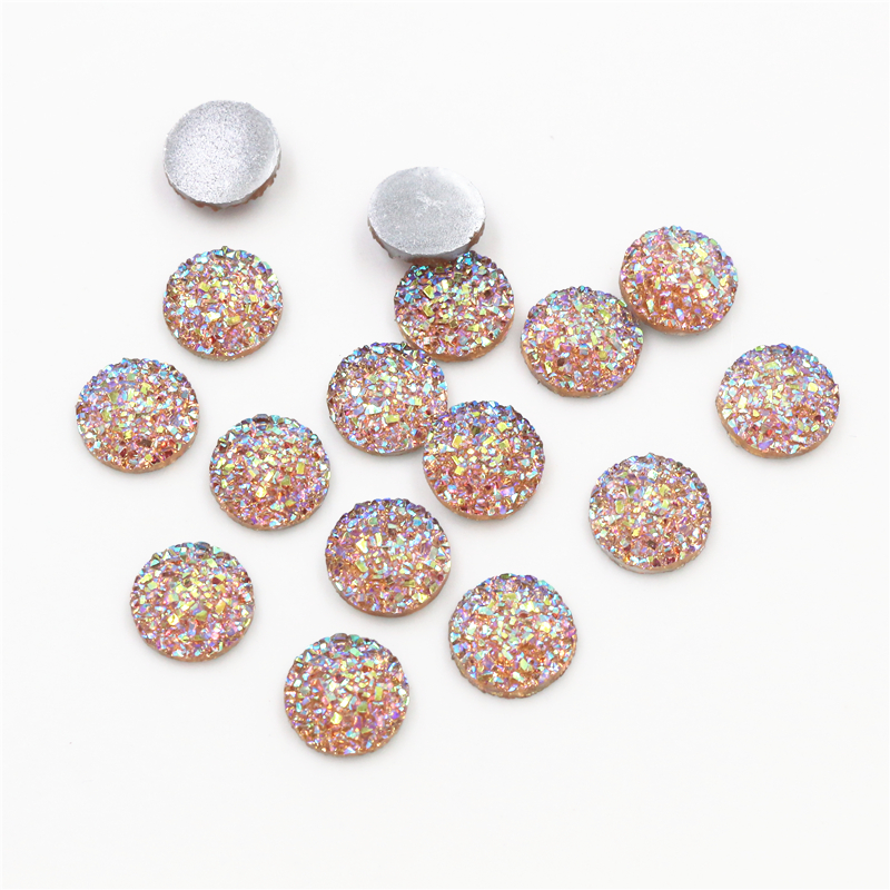 New Fashion 40pcs 12mm Fashion Champagne Gold AB Plated Colors Flat Back Resin Cabochon For Bracelet Earrings Accessories G1-19