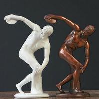 Art Deco Sculpture Discobolus Discus Thrower Resin Men Statue Figurine