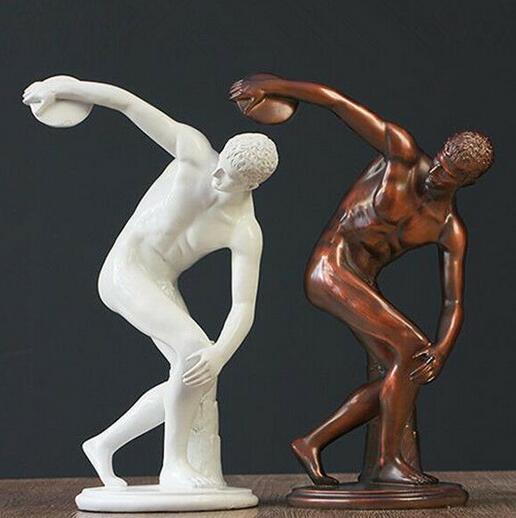 Art Deco escultura Discobolus lanzador de disco resina hombres estatua estatuilla