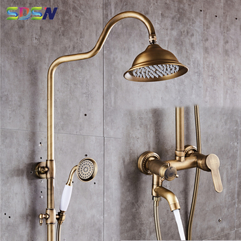 Antique Shower Set SDSN 8 Inch Rainfall Shower Head Spa Bath Shower System Quality  Brass Shower Faucets Antique Shower Set