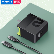 ROCK USB Phone Charger 65W Type C USB PD Dual Port Fast Charging Adapter For iPhone 11 XR 8 Plus for MacBook for iPad Pro Cable