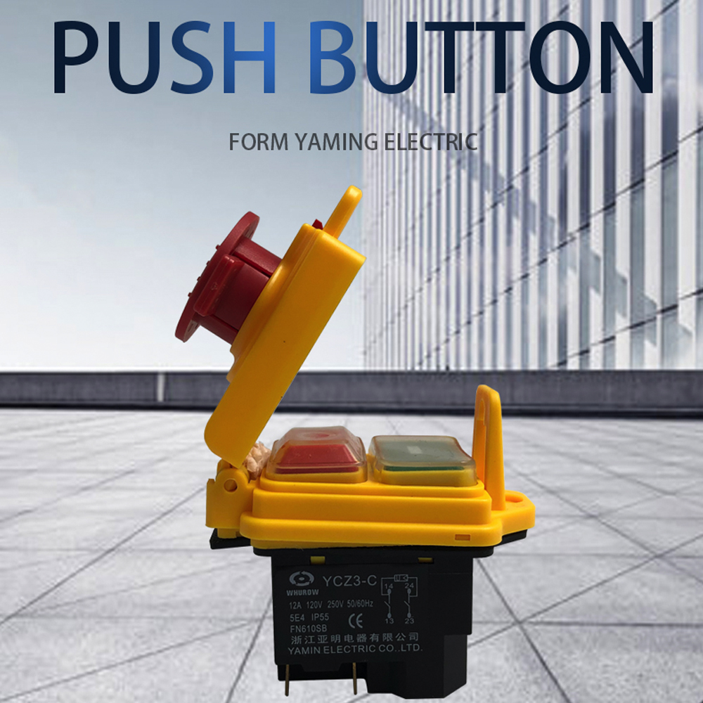 Electromagnetic Switch 5 Pin On Off 2 Position Momentary Push Button Protective Cover Waterproof YCZ3-C Emergency Stop 15A