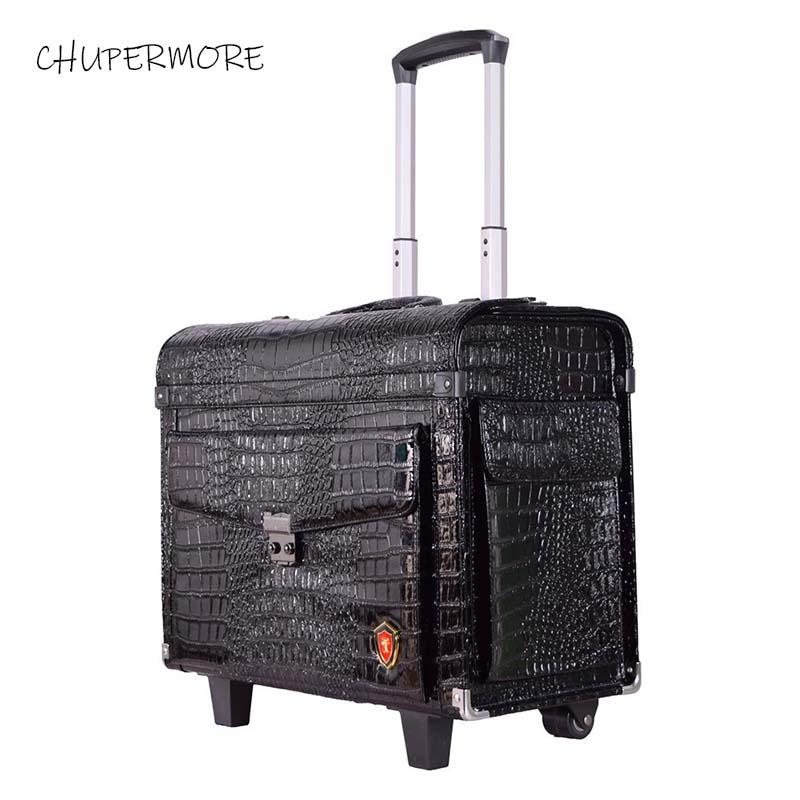 Retro PU Leather Pilot Rolling Luggage Spinner Black Crocodile Multifunction Suitcase Wheels 19 Inch Cabin Captain Flight Case