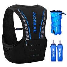 Aonijie mulheres dos homens trail running mochila 5l leve caminhadas corrida ciclismo maratona hidratação colete mochila garrafas opcionais