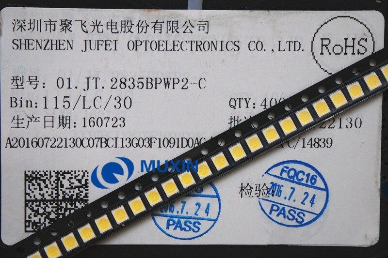 50 pces jufei led backlight 1210 3528 2835 1 w 3 v 107lm branco fresco retroiluminação lcd para tv aplicação 01. JT.2835BPWP2 C Contas iluminadas    -