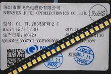 50 pces jufei led backlight 1210 3528 2835 1 w 3 v 107lm branco fresco retroiluminação lcd para tv aplicação 01. JT.2835BPWP2-C