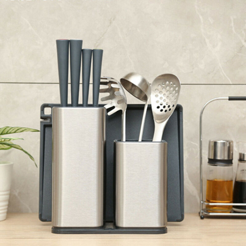 The Newest Convenient Break Resistant Cutter Holder Inserted Stainless Steel Holder Kitchen Storage Rack+Cutting Board