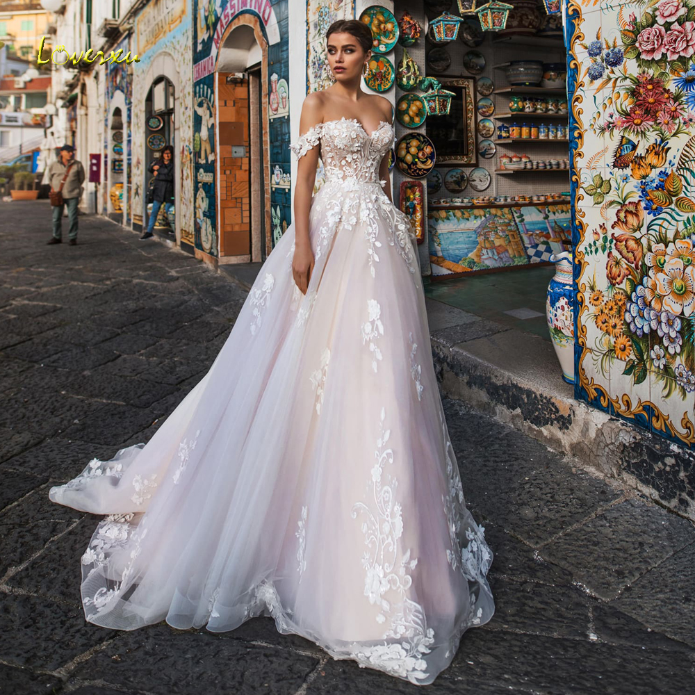 Loverxu Sexy Backless Boat Neck Lace A Line Wedding Dress 2019 Luxury Appliques Off The Shoulder Court Train Vintage Bridal Gown