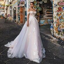 Loverxu Sexy Backless Boothals Kant Een Lijn Trouwjurk 2020 Luxe Applicaties Uit De Schouder Hof Trein Vintage Bridal gown