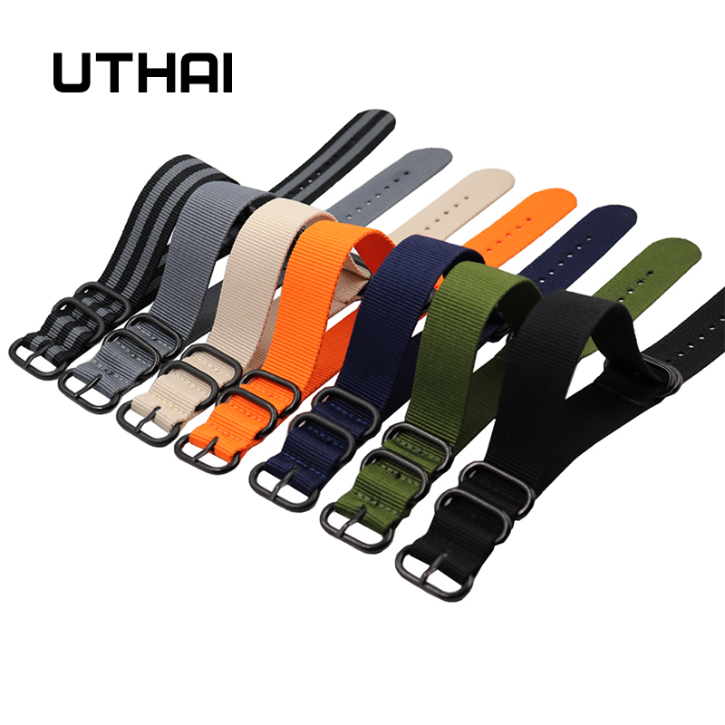 UTHAI P31 Nylon Straps 18mm 20mm 22mm 24mm Nylon Watch Band NATO nylon canvas watch strap with five-ring black buckle steel thic(China)