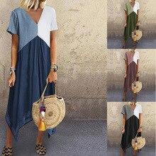 купить Vestidos Verao Women Summer Casual Linen Dress Short Sleeve Dress Crew Neck Women Summer Dress Vestidos Femininos по цене 747.76 рублей