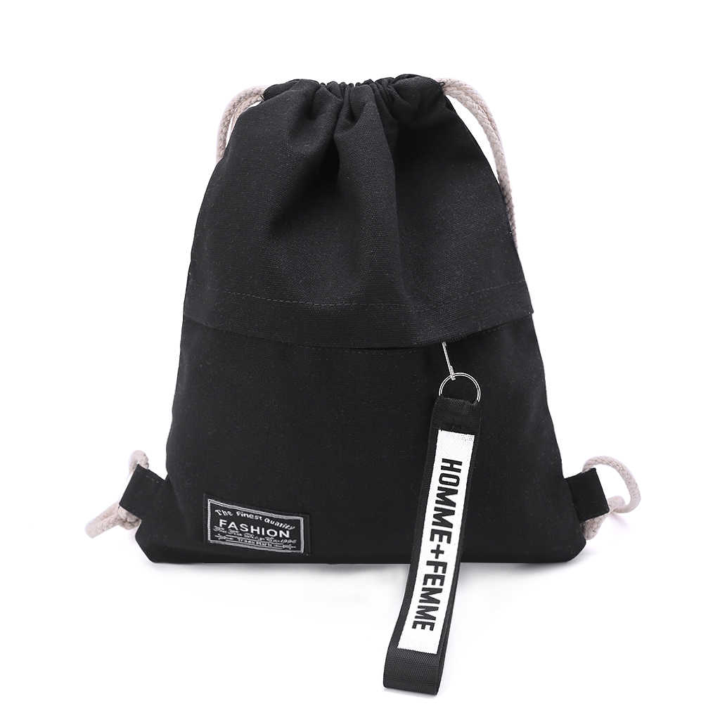Cinch Sack Canvas Opslag School Gym Tasje Pack Rugzak Rugzak Pouch