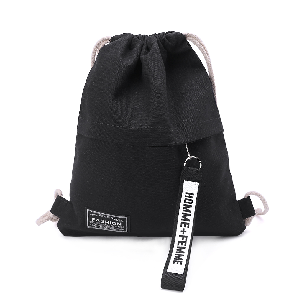 Cinch Sack Canvas Storage School Gym Drawstring Bag Pack Rucksack Backpack Pouch