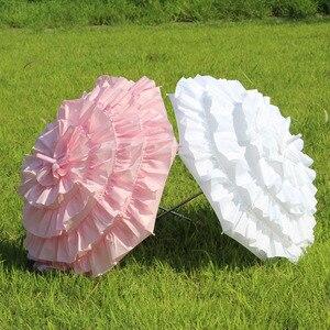 Image 2 - Sombrilla con volantes blanco para niñas, envío gratis