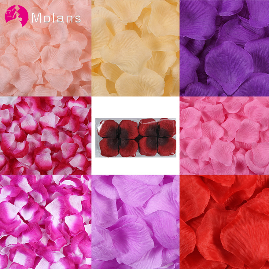 MOLANS 500pcs 5*5cm Silk Imitation Rose Petals For Wedding Decoration Muti-color Fabric Flower For Proposal Arrangement Ornament