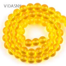 High Quality Mineral Gem Yellow Glass Beads For Jewelry Making 4 6 8 10 12mm Round Spacer Stone Beads Diy Necklace Bracelet 15'' стоимость